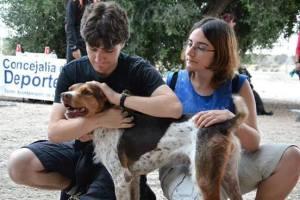 Nuestros amigos Ana y Jorge que colaboran voluntariamente con Asoka el Grande con Sansón, un perrete majísimo que ese mismo día se fue a casa con una familia